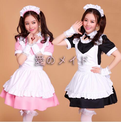 Robe de femme de chambre rose/noire Lolita femmes Costume de Cosplay Alice Anime Cosplay robes de Club de fête vêtements de travail Costumes pour femmes - 3