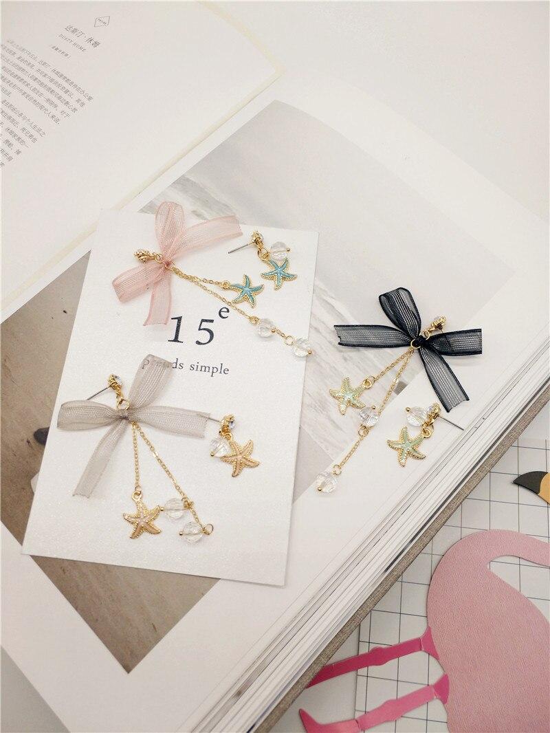 Korea Handmade Cute Yarn Bowknot Alloy Starfish Women Drop Earring Dangle Earrings Fashion Jewelry Accessories-JQD5
