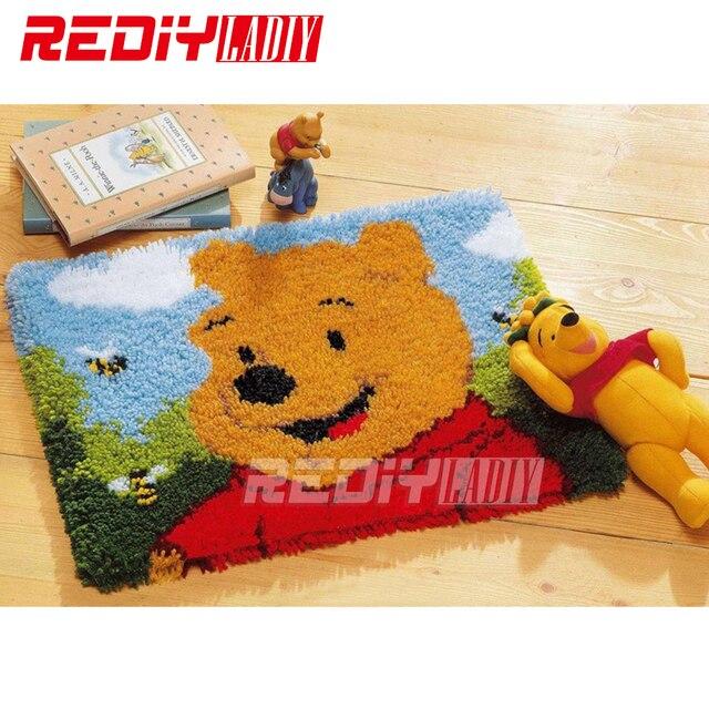 REDIY Latch Hook Rug Crocheting Wall Tapestry Sofa Cushion Cartoon Set for Embroidery Yarn Carpet Rug Bear Home Decor Floor Mat