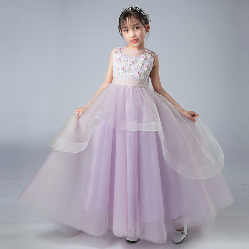 Summer New Purple Flowers Girl Dress Sleeveless O Neck Kids Pageant Gowns First Communion Dresses For Girls Birthday Party DressSummer New Purple Flowers Girl Dress Sleeveless O Neck Kids Pageant Gowns First Communion Dresses For Girls Birthday Party Dress