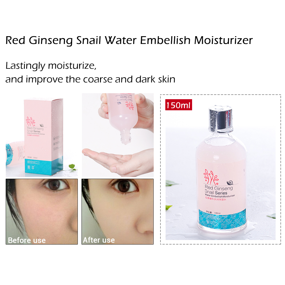 SOONPURE 5PCS Red Ginseng Snail Emulsion Skin Care Face C Cleanser Toner Whitening Acne Treatment Black Head Ageless Beauty