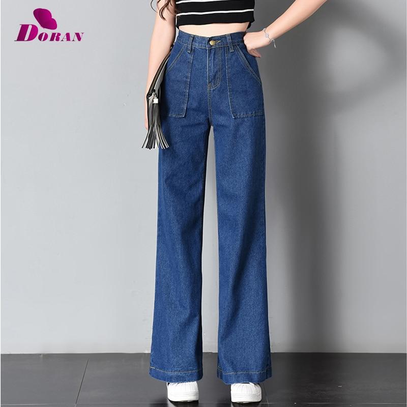 Vintage Wide Leg Jeans Big Pockrt Loose Washed High Waist Denim Pants 2018 Long Jeans for Women Pantalon Femme Light Dark Blue 2