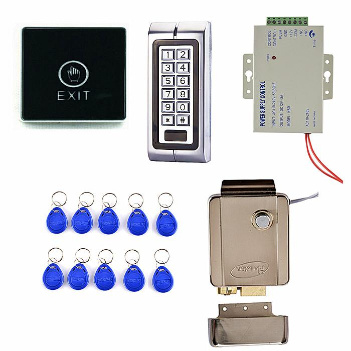 1000 Users Metal Keypad  Access Control System  + Electric Door Lock +Touch Door Switch Button K2 metal rfid em card reader ip68 waterproof metal standalone door lock access control system with keypad 2000 card users capacity