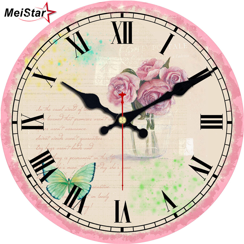 MEISTAR 3 Patterns Vintage Round Clock Flower Design Silent Home Office Cafe Kitchen Decoration Saat Large Art Wall Clocks