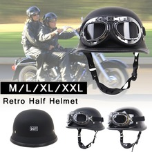 Helmet Motorcycle Locomotive Retro Velvet Lining Breathable Outdoor Riding Half With Stylish Glasses Accessories Supplies