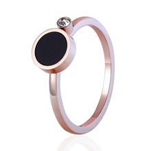 New High Quality Zircon And Black Enamel Woman Rings Stainless Steel Ring For Women Female Wedding Ring Band Jewelry wholesale(China)