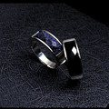 Top Quality Men's 316L Titanium Steel Ring Artificial gems Obsidian Blue gravel Wave People Vested With Black Women Rings Nanjie