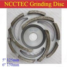 "5"" 6"" Diamond grinding cup wheels | 125mm 150mm Concrete grinding discs | silver welding 3 long segments and 6 short segments"