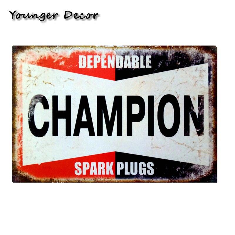 Metal Tin Sign dependable champion spark plugs Decor Bar Pub Home Vintage Retro