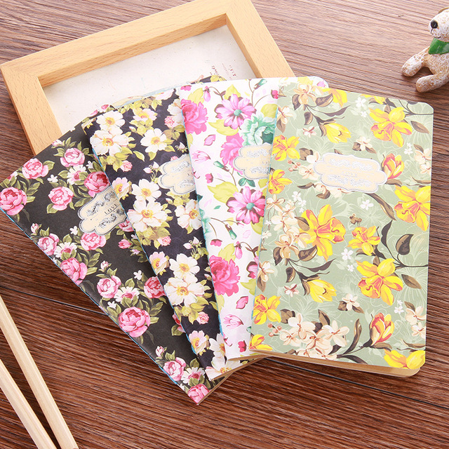 Kawaii Flowers Decoration Notebook Diary Journal Planner Blank Kraft Inside Pages Cute Notepads Office School Supplies