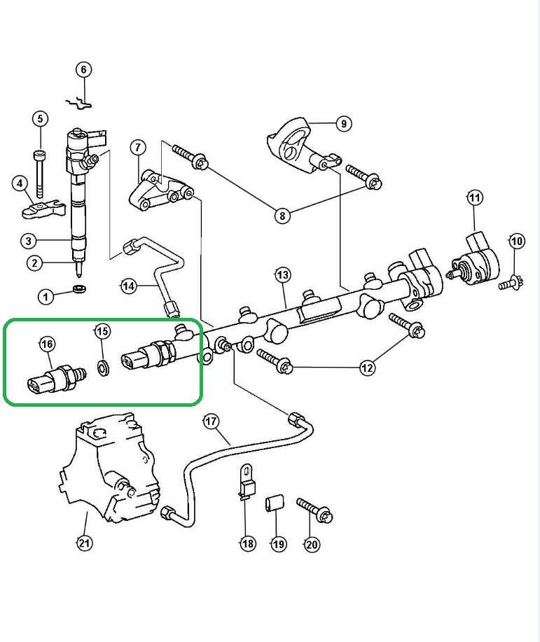 fuel rail pressure sensor location