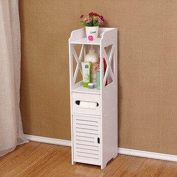 Home bathroom rack floor locker narrow cabinet waterproof trash toilet side cabinet debris storage rack ZP7171408