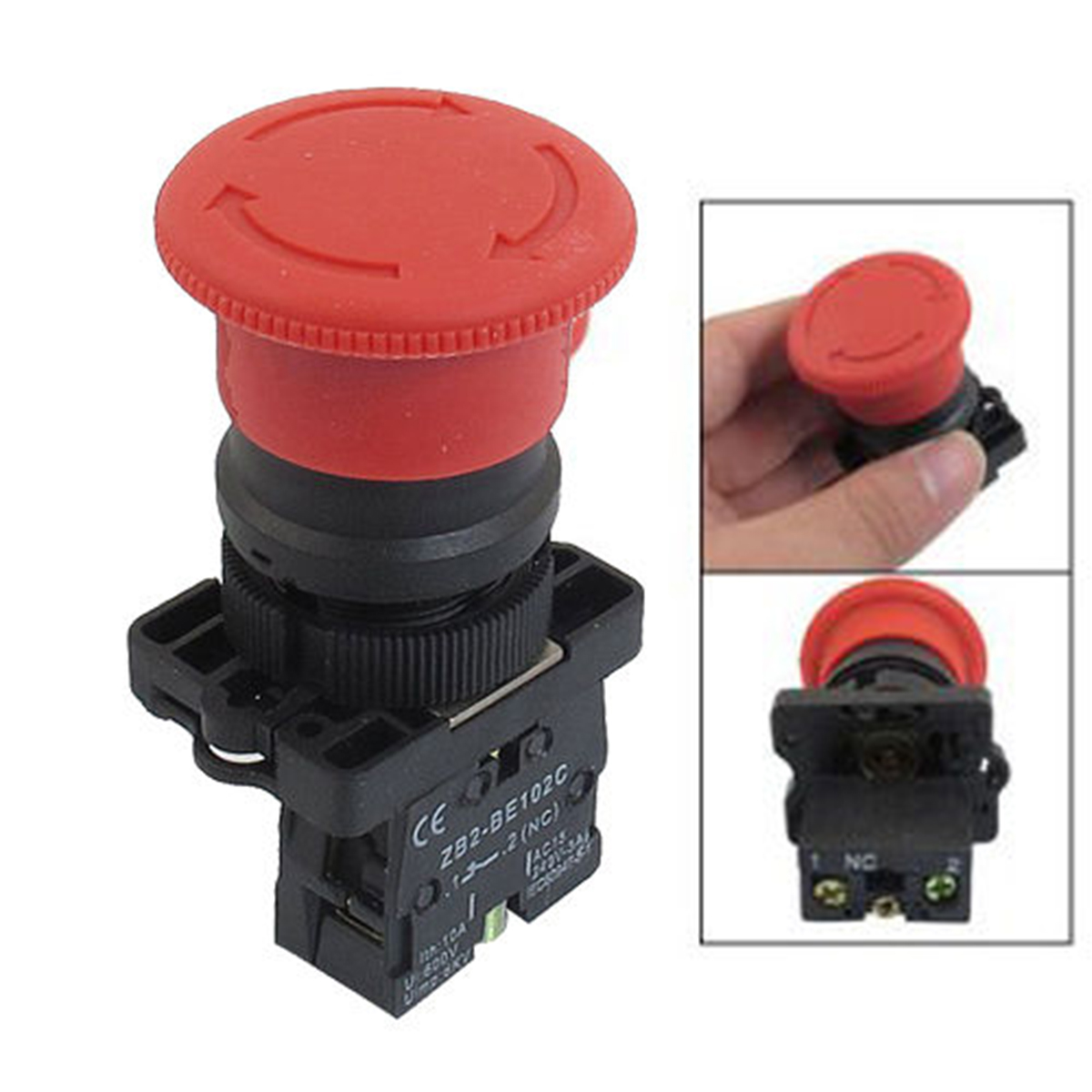 mxuteuk LED Light Voltage 110V 2 NC Waterproof IP65 Red Mushroom Latching Emergency Stop Push Button Switch AC 600V 10A with ABS IP65 Box Station BOX-02ZSD