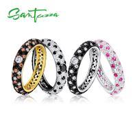 SANTUZZA Zilveren Ringen Voor Vrouwen Multi-kleur Blauw Zwart Roze Bruin CZ Ring Pure 925 Sterling Zilver Eternity Ring mode-sieraden
