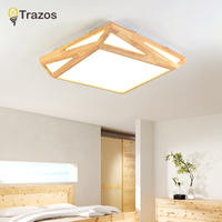 TRAZOS японский твердой древесины простой Гостиная деревянный потолочный светильник Спальня лампа геометрический детская кровать огни с дис
