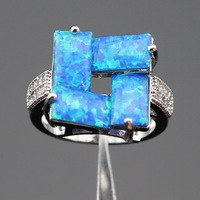 Ashley Fire Blue Opal White Topaz 925 Sterling Silver Rings For Women Wedding Jewelry Free Gift
