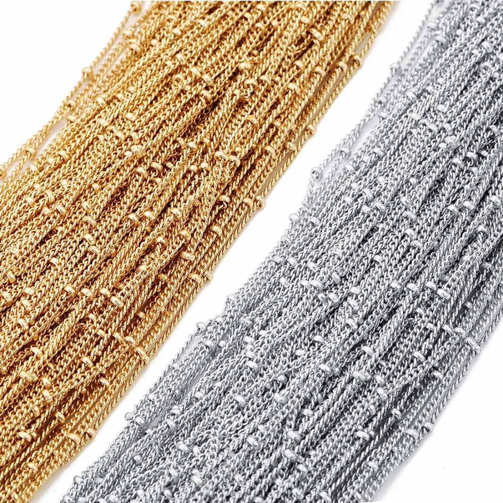 LOULEUR 5 Meter Thickness 1.2mm Copper Twisted Chains With Diameter 2mm Beads Rhoduium KC Gold Color Diy Jewelry Making Findings