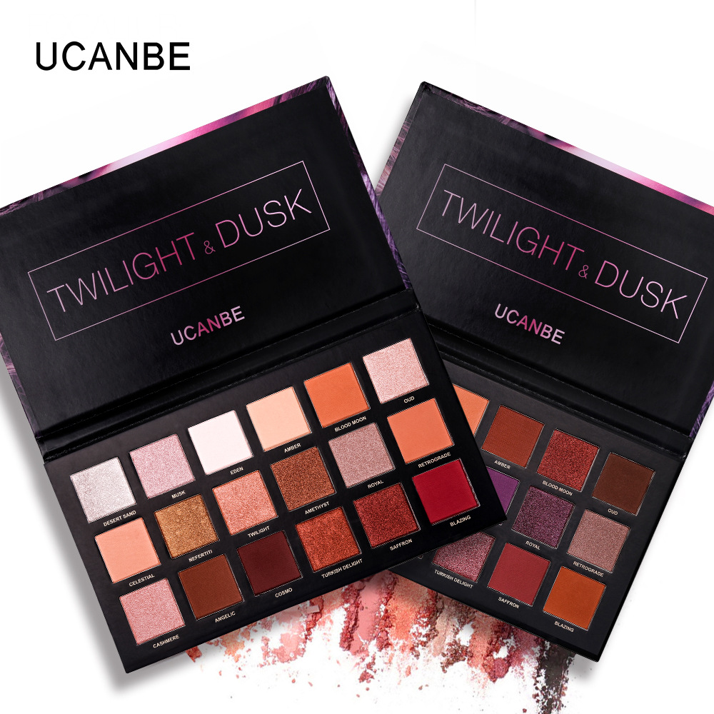 Ucanbe New 18 color rose gold eye shadow disk desert dish mashed herring twilight&dusk eye shadow makeup plate