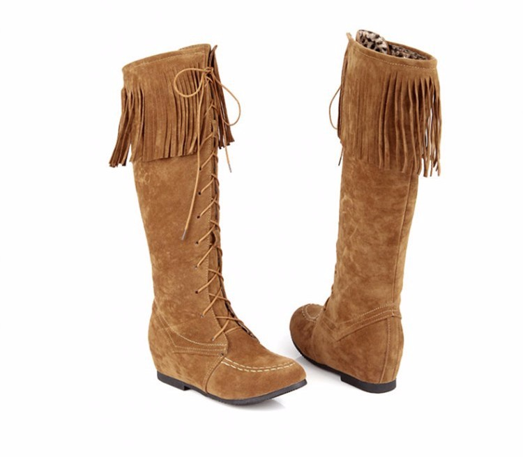 Height Increasing Knee High Boots Women 2016 Fashion Winter Long Lace Up Tassel Boots Short Plush Women Boots Botas Mujer DX62 (8)