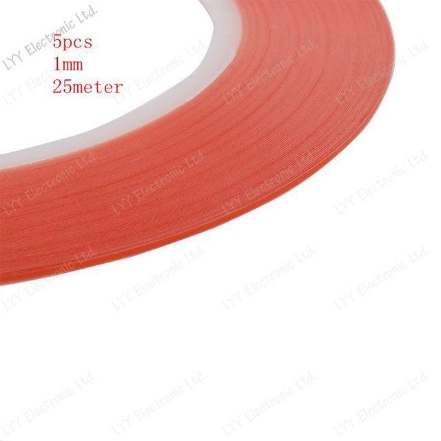 5ピース/1ミリメートル赤25メートル透明ステッカーダブルサイド粘着テープ用携帯電話タッチスクリーンlcd送料無料