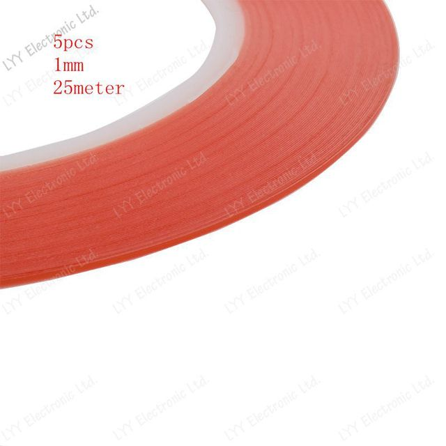 5pcs/  1mm red 25M transparent Sticker Double Side Adhesive Tape For Cellphone Touch Screen LCD   free shipping