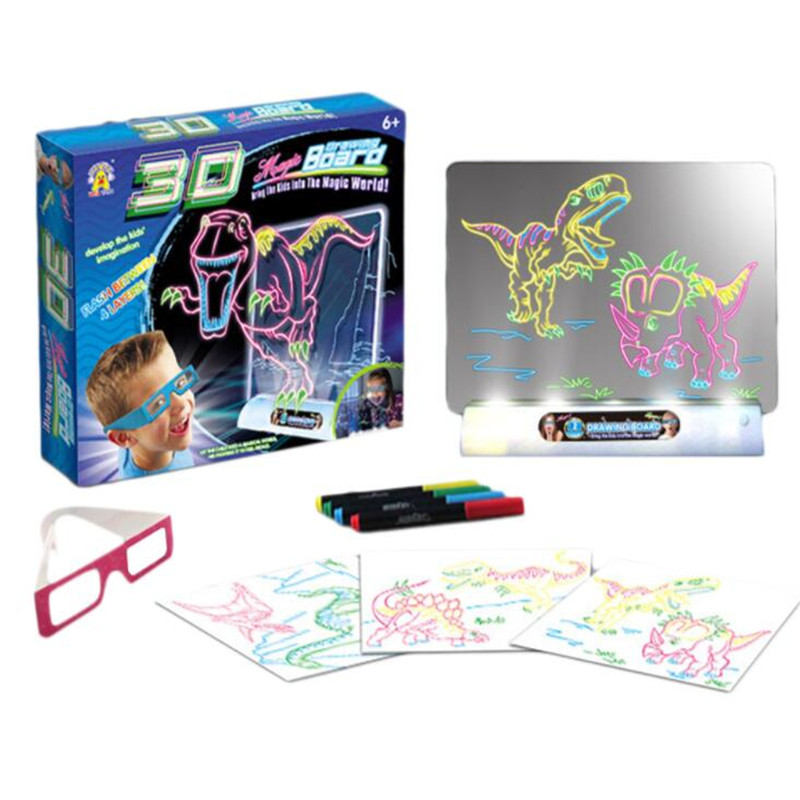 Image 2 - 3D Light Up Drawing Board Dinosaur Toys LCD early Educational Painting Erasable Doodle Magic Glow Pad with 3D Glasses Kids GiftDrawing Toys   -