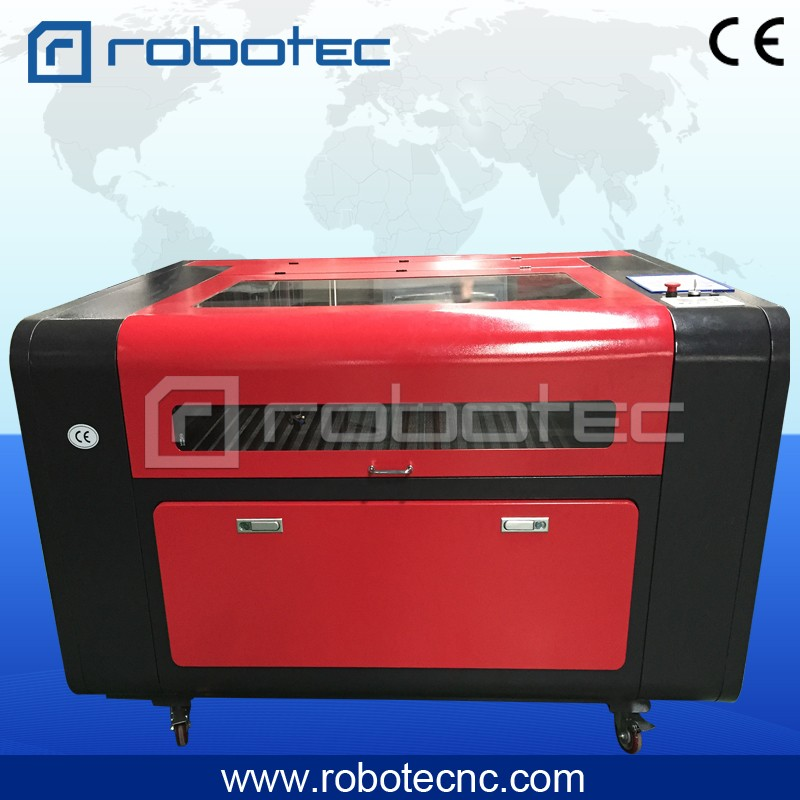 Robotec Co2 Plastic Wood Crafts Acrylic Nameplate Textil Fabric Plywood Polyester Laser Cutting Machine 1390