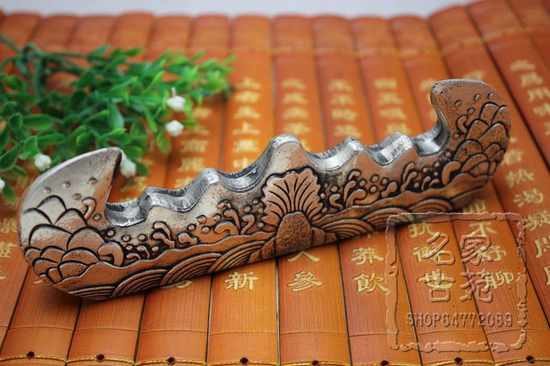 Wholesale antiques antique copper copper carved relief Shuanglongxizhu pattern of the quot scholar 39 s four jewels quot penholder in Figurines amp Miniatures from Home amp Garden