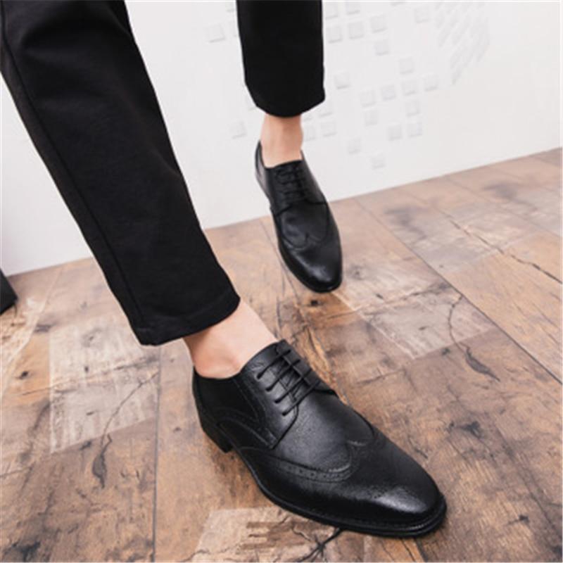Casamento Apontado Dedo Sapatos Couro marrom Homens Do up Preto Brogue Apartamentos Ocasional De 02a Vestido Masculinos Erkek Lace Ayakkabi Vintage x6BwnPtEw