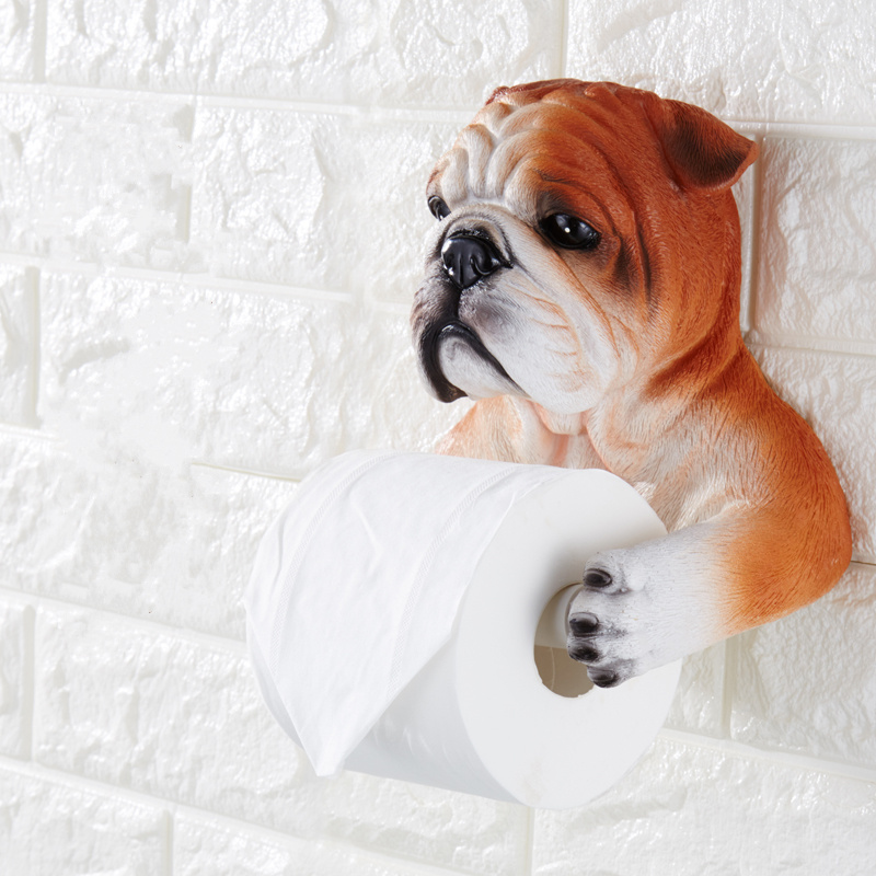 Creative cartoon toilet paper towel rack 3D simulation dog / bear / cat tissue storage organizer bathroom accessories