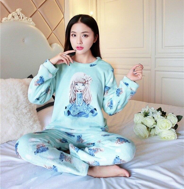 65981449f 2019 FLC099 Thick Flannel Cute Gril Pyjamas Women Pajama Sets Winter ...