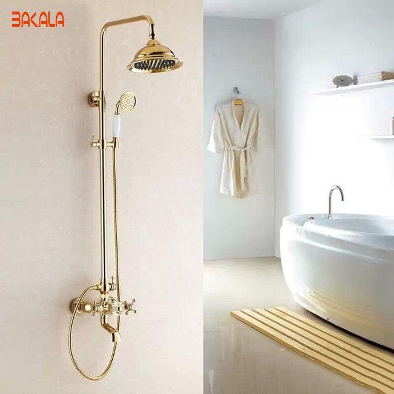 Boa qualidade de luxo latão ouro torneiras chuveiro na parede do chuveiro Mixer torneiras GZ-6012