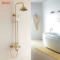 Bakala良い品質ソリッドブラス高級降雨ゴールデンシャワー風呂セット蛇口ウォールマウントシャワーミキサー蛇口GZ-6012