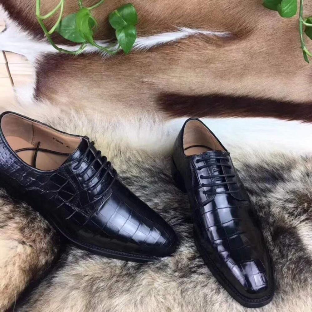 Shoes 100% Genuine Real Crocodile Belly Skin Shinny 2 Colors Leather Men Shoe Durable Solid Crocodile Skin Men Dress Shoe Blue Brown Formal Shoes