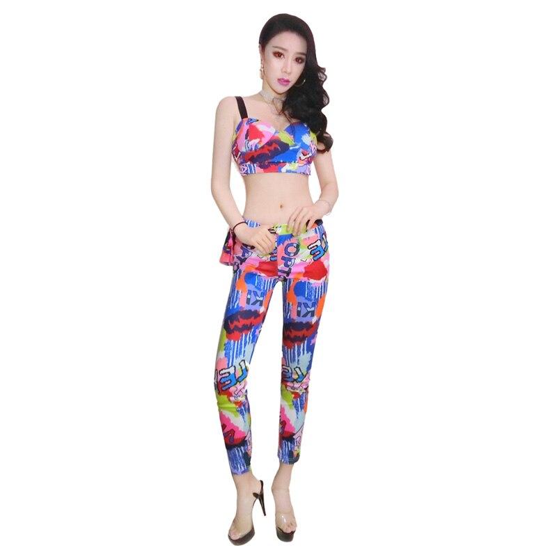 Femmes adultes Jazz danse vêtements Customes moderne Hip Hop danse Top + pantalon Costume fête Performance Dancewear Rave OutfitDQS1299