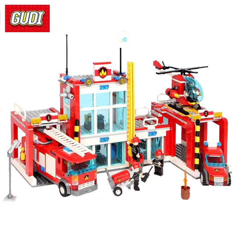 GUDI Fire Rescue Series Assembled DIY Building Blocks Fire Station Helicopter Truck Toys Fireman Figures Bricks Model Present hot city fire rescue ladder engine truck building block fireman figures bricks educational toys for children gifts