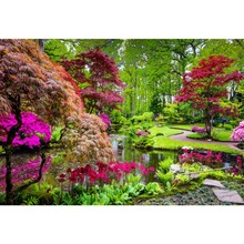 Natural Backdrops Green Tree Flowers Lake Park Garden Way Beautiful View Photographic Background Photocall Photo Studio