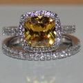 Handmade Women's Silver Cushion-cut Yellow Topaz Simulated Diamond Stone CZ Paved Bridal Eternity Wedding Ring Set