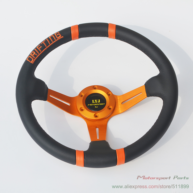 Hot Sale Universal Drifting Steering Wheel 90mm Deep Dish Real Leather Gold Color Racing Car Steering Wheel image