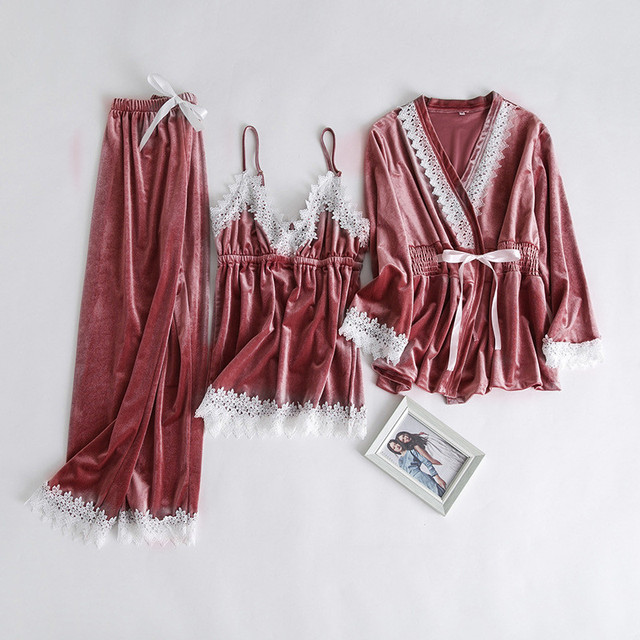 3 Pieces 1 Set Autumn Winter Women Pyjamas Sets Thick Warm Velvet Suit Robe  Long Sleeve Female Lace Pants Sleepwear Homewear d9e0e111b