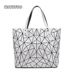 WSYUTUO Сумочка женская сложенная Дамская Геометрическая Сумка клетчатая модная повседневная женская хозяйственная сумка на плечо