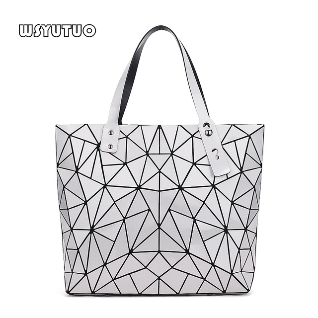 WSYUTUO Handbag Female Folded Ladies Geometric Plaid Bag Fashion Casual Tote Women Handbag Shoulder Bag