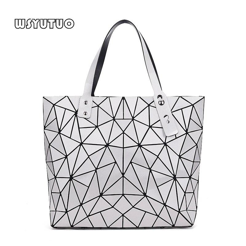 WSYUTUO Handtasche Weibliche Gefaltet Damen Geometrische Plaid Tasche Mode Lässig Frauen Handtasche Schulter Tasche