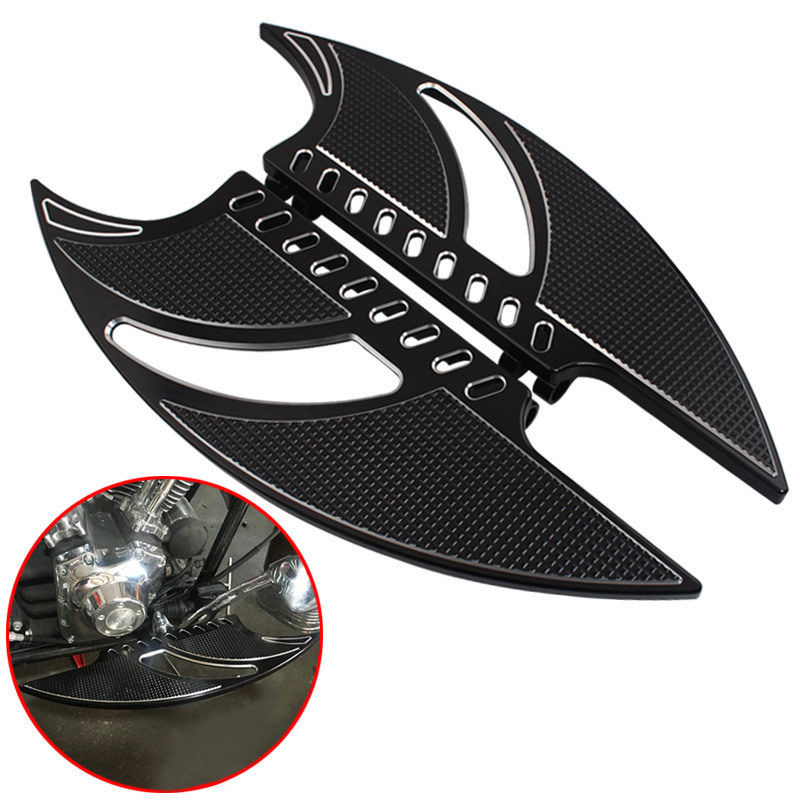 Motorcycle Black Footrests Foot Pegs Front Billet Foot Board Driver Floorboards For Harley Touring Softail FLT