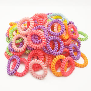 Ponytail-Holder-Accessories Telephone Wire-Line Hair-Tie Rubber-Band Scrunchy 100pcs