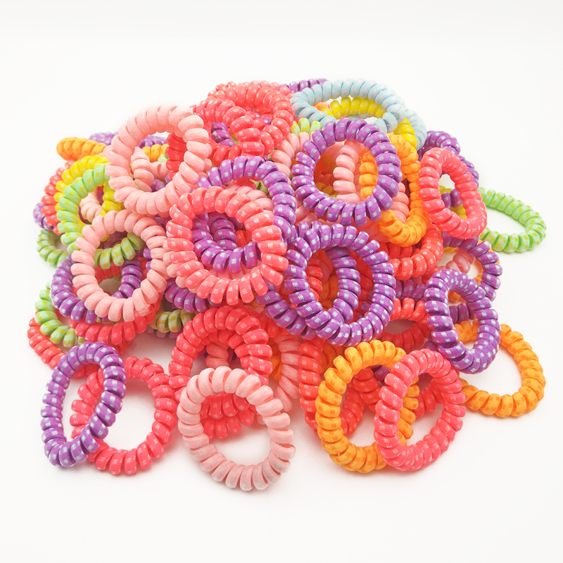 Wholesale 100Pcs Fabric Elastic Hair Rubber Band Telephone Wire Line  Hair Tie Scrunchy Ponytail Holder Accessories Size 5.5CM
