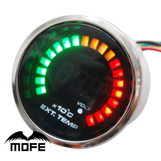 Original Logo 52mm 20PCS LED Digital Exhaust Gas Temp Racing Car Meter Gauge With Sensor