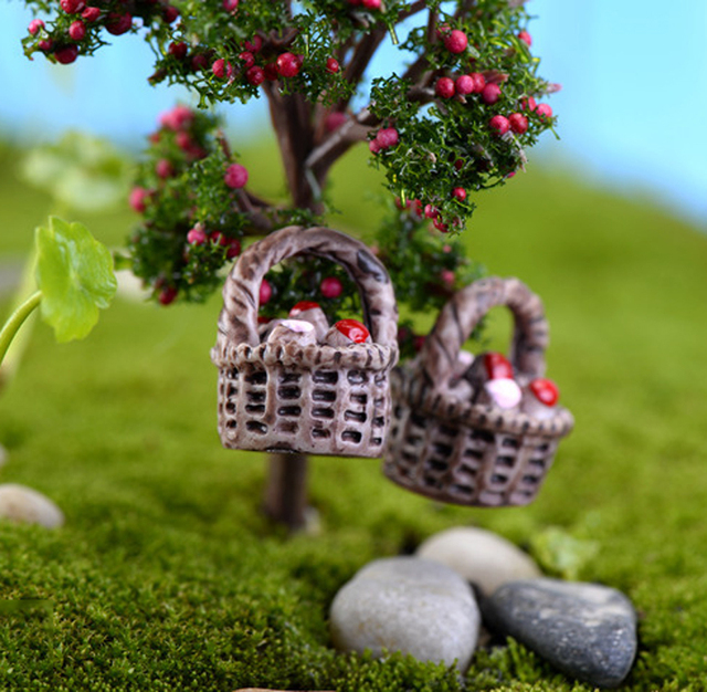3pcs mini flower baskets fairy garden miniatures terrariums ornament resin figurines manualidades jardim bonsai decoration - Fairy Garden Miniatures