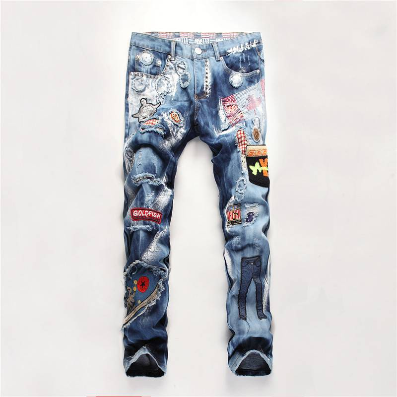 #3208 2016 Men ripped denim jeans Hip hop jeans men Designer Fashion jean homme marque Skinny Pantalon homme Motorcycle pants
