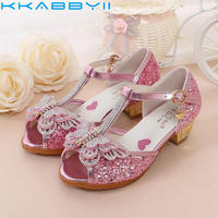 New Peep Toe Children Sandals Bow Knot Kids Summer Shoes For Girls Princess Baby Shoes Glitter
